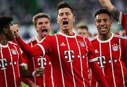 WOLFSBURG, Feb. 18, 2018  Bayern Munich's Robert Lewandowski (Front) celebrates his score during a German Bundesliga match between VfL Wolfsburg and Bayern Munich, in Wolfsburg, Germany, on Feb. 17, 2018. Bayern Munich won 2-1. (Credit Image: © Shan Yuqi/Xinhua via ZUMA Wire)