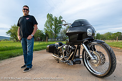 Sean Verna near Boulder, CO with his Westside Customs Softail bagger he built. Thursday, May 16, 2019. Photography ©2019 Michael Lichter.