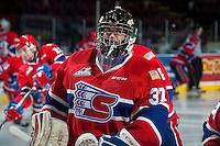 KELOWNA, CANADA - JANUARY 4: Dawson Weatherill #37 of the Spokane Chiefs stands on the ice during warm up against the Kelowna Rockets on January 4, 2017 at Prospera Place in Kelowna, British Columbia, Canada.  (Photo by Marissa Baecker/Shoot the Breeze)  *** Local Caption *** Dawson Weatherill;