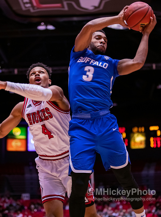 DEKALB, IL - JANUARY 22: Jayvon Graves #3 of the Buffalo Bulls snags a rebound during the game against the Northern Illinois Huskies at NIU Convocation Center on January 22, 2019 in DeKalb, Illinois. (Photo by Michael Hickey/Getty Images) *** Local Caption *** Jayvon Graves