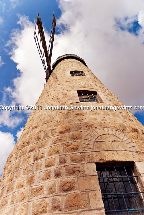 The Moses Montefiore windmill at Yemin Moshe, Jerusalem. WATERMARKS WILL NOT APPEAR ON PRINTS OR LICENSED IMAGES.