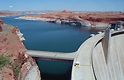 Glen Canyon Dam on the Colorado River. Damming the river flooded Glen Canyon and created a large reservoir called Lake Powell. Built 1956-66. Page, Arizona, USA, 1990
