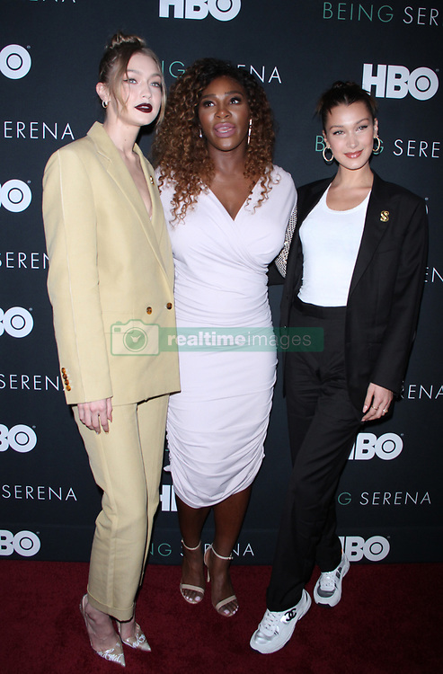 NEW YORK, NY April 25, 2018:Serena Williams, Venus Williams attend HBO presents the New York Premiere of Being Serena Her Story Her Words at Time Warner Center in New York. April 25, 2018 CAP/MPI/RW ©RW/MPI/Capital Pictures. 25 Apr 2018 Pictured: Gigi Hadid, Serena Williams, Bella Hadid,. Photo credit: RW/MPI/Capital Pictures / MEGA TheMegaAgency.com +1 888 505 6342