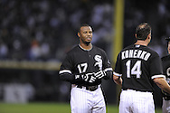 CHICAGO - SEPTEMBER 5:  Ken Griffey Jr. #17 of the Chicago White Sox talks to Paul Konerko #14 during the game against the Los Angeles Angels at U.S. Cellular Field in Chicago, Illinois on September 5, 2008.  The White Sox defeated the Angels 10-2.  (Photo by Ron Vesely)