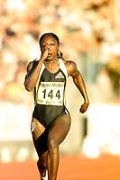 Friidrett, Exxon Mobil Bislett Games, 28. juli 2000. Chryste Gaines, USA. 100 meter.