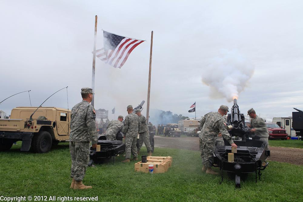 National guard firing 155mm howitzer Kokomo Indiana Vietnam Veterans Reunion 2012