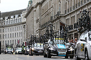 Support vehicles on Regent Street during the London Stage of the Aviva Tour of Britain, Regent Street, London, United Kingdom on 13 September 2015. Photo by Ellie Hoad.