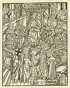 'Livy - Titus Livius (59 BC - 17 AD) Roman historian  Woodcut from his ''Les quatorze decados printed in Saragossa, 1520. The woodcut shows the presentation of the printed book to the Holy Roman Emperor (Charles V).'