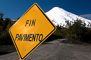 End of Pavement Sign on Osorno Volcano, Lake Llanquihue, Chile