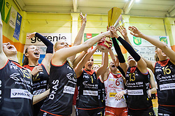 Players of Nova KBM Branik celebrate with a trophy after winning the volleyball match between Nova KBM Branik Maribor and OK Luka Koper in Final of Women Slovenian Cup 2014/15, on January 18, 2015 in Sempeter v Savinjski dolini, Slovenia. Photo by Vid Ponikvar / Sportida