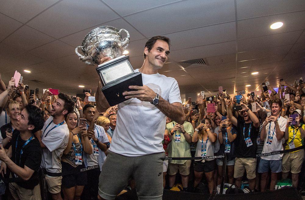 Roger Federer of Switzerland at the staff after party after winning the 2018 Australian Open on day 14 at Rod Laver Arena in Melbourne, Australia on Sunday afternoon January 28, 2018.<br /> (Ben Solomon/Tennis Australia)