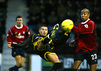 Photo. Chris Ratcliffe<br />Southend United v Bristol Rovers. FA Nationwide 3rd Division. 20/12/2003<br />Lewis Haldane of Bristol gets an acrobatic overhead shot on goal. Lewis Hunt of Southend can only watch