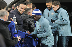 March 13, 2019 - Kiev, Ukraine - Chelsea N'GOLO KANTE (C) gives a signature for fans, before a training session on the Olimpiyskiy stadium in Kiev, Ukraine, on 13 March 2019. Chelsea will face Dynamo Kyiv in the UEFA Europa League, second leg soccer match in Kiev on 14 March 2019. (Credit Image: © Serg Glovny/ZUMA Wire)