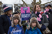 Labour MP Helen Hayes and Cllr Catherine Rose at the Dulwich Hamlet Football Club protest march from Goose Green to Champion Hill on 17th March 2018 in South London in the United Kingdom. The non-league, South London, club is gaining popularity following recent eviction by Meadow Residential, an American property investment fund, who want to turn the clubs ground, Champion Hill, into luxury flats. .
