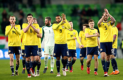 (From left to right) Scotland's Oliver McBurnie Scott McKenna, Matt Phillips and Charlie Mulgrew applaud the fans after winning 1-0 against Hungary at the end of the international friendly match at the Groupama Arena, Budapest.