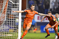 Luton Town player James Collins celebrates Luton Towns second goal of the first half during the EFL Sky Bet League 1 match between Luton Town and AFC Wimbledon at Kenilworth Road, Luton, England on 23 April 2019.