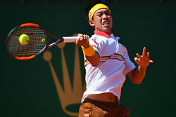 April 22, 2018 - Monte Carlo, Monaco - KEI NISHIKORI of Japan comes up short in the men's singles final of the Monte Carlo Rolex Masters tennis tournament, at Monte Carlo Country Club. (Credit Image: © Panoramic via ZUMA Press)