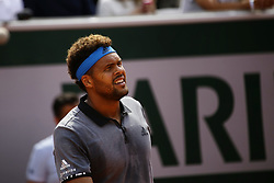 May 27, 2019 - Paris, France - France's Jo-Wilfried Tsonga reacts during his men's singles first round match against Germany's Peter Gojowczyk on day two of The Roland Garros 2019 French Open tennis tournament in Paris on May 27, 2019. (Credit Image: © Ibrahim Ezzat/NurPhoto via ZUMA Press)