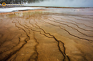 Travertine patterns at Grand Prismatic Sspring in winter in Yellowstone National Park, Wyoming, USA