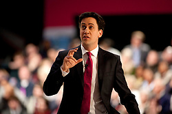 © Licensed to London News Pictures. 23/3/2013. Birmingham, UK. Labour Policy Forum at the ICC.Pictured, Labour Leader Ed Miliband gives his keynote speech. Photo credit : Dave Warren/LNP
