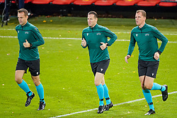 LEUVEN, BELGIUM - Sunday, November 15, 2020: Assistant referee Hessel Steegstra, referee Danny Makkelie and assistant referee Mario Dik during the pre-match warm-up before the UEFA Nations League Group Stage League A Group 2 match between England and Belgium at Den Dreef. Belgium won 2-0. (Pic by Jeroen Meuwsen/Orange Pictures via Propaganda)