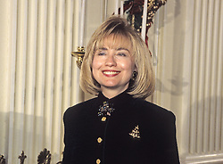 First lady Hillary Rodham Clinton makes remarks in the State Dining Room as she hosts a press event to preview the holiday decorations at the White House in Washington, D.C, USA, on December 5, 1994. Photo by Ron Sachs/CNP/ABACAPRESS.COM