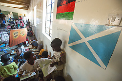 Scottish flag painted on wall. Visit to Namasimba Under 6 centre in Blantyre. Three-day trip to Malawi with the charity Mary's Meals, June 26-29. 2016.