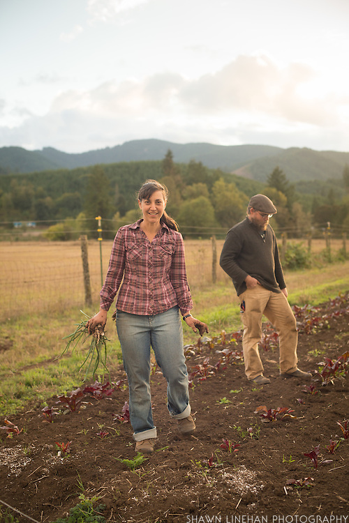 Sarah Kleeger and Andrew Still of Adaptive Seeds on the farm in Sweet Home, Oregon.