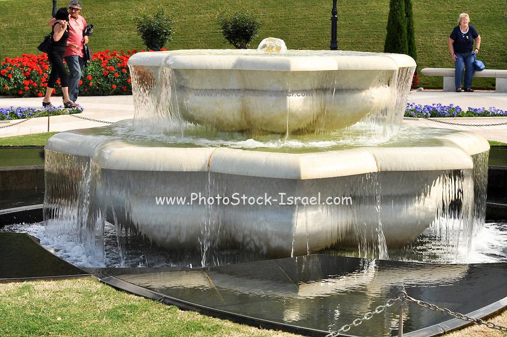 Haifa, Israel, Bahai gardens details of a Marble fountain element in the garden