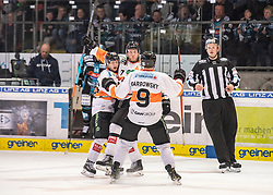 24.03.2019, Keine Sorgen Eisarena, Linz, AUT, EBEL, EHC Liwest Black Wings Linz vs Moser Medical Graz 99ers, Viertelfinale, 6. Spiel, im Bild v.l. Peter Robin Weihager (Moser Medical Graz 99ers), Matt Garbowsky (Moser Medical Graz 99ers) feiern das 2 zu 2 // during the Erste Bank Icehockey 6th quarterfinal match between EHC Liwest Black Wings Linz and Moser Medical Graz 99ers at the Keine Sorgen Eisarena in Linz, Austria on 2019/03/24. EXPA Pictures © 2019, PhotoCredit: EXPA/ Reinhard Eisenbauer