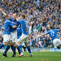 St Johnstone v Dundee United...  William Hill Scottish Cup Final<br /> Steven Anderson celebrates his goal with Frazer Wright, Steven MacLean and Dave Mackay<br /> Picture by Graeme Hart.<br /> Copyright Perthshire Picture Agency