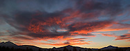 Sunset panorama  over the Cascades.