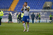 James Norwood of Tranmere Rovers applauds the fans at full time during the EFL Sky Bet League 2 play off first leg match between Tranmere Rovers and Forest Green Rovers at Prenton Park, Birkenhead, England on 10 May 2019.