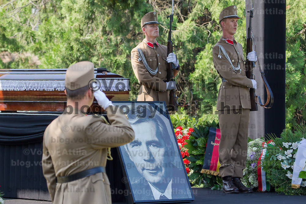 Soldiers stand guard during the funeral of Gyula Horn former prime minister of Hungary in Budapest, Hungary on July 08, 2013. ATTILA VOLGYI