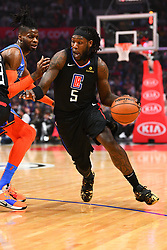March 8, 2019 - Los Angeles, CA, U.S. - LOS ANGELES, CA - MARCH 08: Los Angeles Clippers Center Montrezl Harrell (5) drives to the basket during a NBA game between the Oklahoma City Thunder and the Los Angeles Clippers on March 8, 2019 at STAPLES Center in Los Angeles, CA. (Photo by Brian Rothmuller/Icon Sportswire) (Credit Image: © Brian Rothmuller/Icon SMI via ZUMA Press)