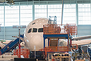 Manufacturing production line for the new Boeing 787-10 Dreamliner aircraft unveiled at the Boeing factory February 17, 2016 in North Charleston, SC. President Donald Trump attended the rollout ceremony for the stretch version of the aircraft capable of carrying 330 passengers over 7,000 nautical miles.