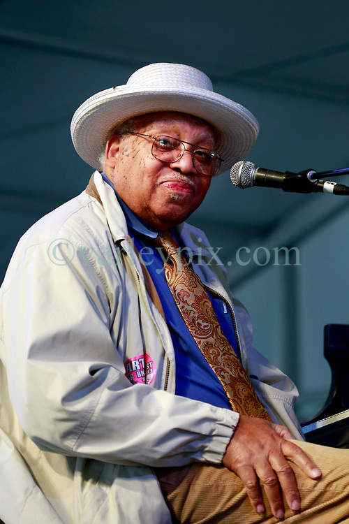 05 May 2013. New Orleans, Louisiana,  USA. <br /> New Orleans Jazz and Heritage Festival. JazzFest.<br /> Legendary Jazz pianist Ellis Marsalis plays the Jazz tent.<br /> Ellis Marsalis passed away April 1st 2020 of complications associated with Coronavirus - COVID-19.<br /> Photo ©; Charlie Varley/varleypix.com
