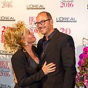 NLD/Amsterdam/20160118 -  Beau Monde Awards 2016, Connie Breukhoven en partner Eugene van Dun