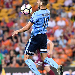 BRISBANE, AUSTRALIA - FEBRUARY 3: Milos Ninkovic of Sydney controls the ball during the round 18 Hyundai A-League match between the Brisbane Roar and Sydney FC at Suncorp Stadium on February 3, 2017 in Brisbane, Australia. (Photo by Patrick Kearney/Brisbane Roar)