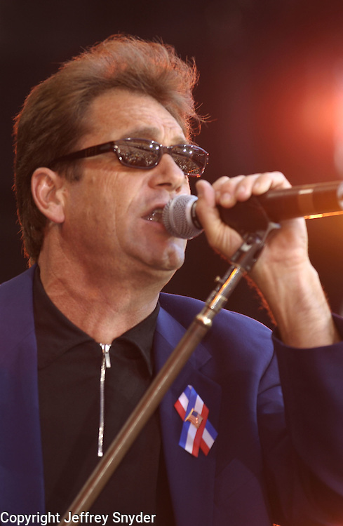 Singer, Huey Lewis performing at United We Stand: What More Can I Give? Concert. A music benefit in support of the recovery efforts from the September 11 attack on America. The proceeds will go to various Relief Funds. October 21, 2001 (Jeff Snyder)