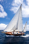 Infanta sailing in the Windward Race at the Antigua Classic Yacht Regatta.