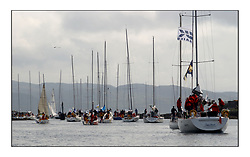 Yachting- The first days inshore racing  of the Bell Lawrie Scottish series 2002 at Tarbert Loch Fyne. Near perfect conditions saw over two hundred yachts compete. <br />The race fleet leaves the harbour for the race course.<br />Pics Marc Turner / PFM