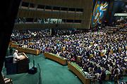 25 de Setiembre de 2015. Nueva York. Visita y discurso del Papa Francisco en la Asamblea de las Naciones Unidas en Nueva York (Foto Edu Bayer)