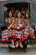 Jat tribal girls on their way to a festival, Bhuj, Gujarat