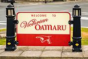 Welcome sign, Oamaru, Otago, South Island, New Zealand