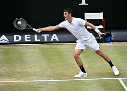 12.06.2015, Tennis Club Weissenhof, Stuttgart, GER, ATP Tour, Mercedes Cup Stuttgart, Viertelfinale, im Bild Bernard Tomic (AUS) Aktion // during quarter Finals of Mercedes Cup of ATP world Tour at the Tennis Club Weissenhof in Stuttgart, Germany on 2015/06/12. EXPA Pictures © 2015, PhotoCredit: EXPA/ Eibner-Pressefoto/ Weber<br /> <br /> *****ATTENTION - OUT of GER*****
