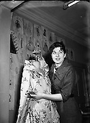 Special for Sunday Express- Miss Hilda Larkin, Teacher at the Grafton Academy of Dress Design<br /> 26/11/1954