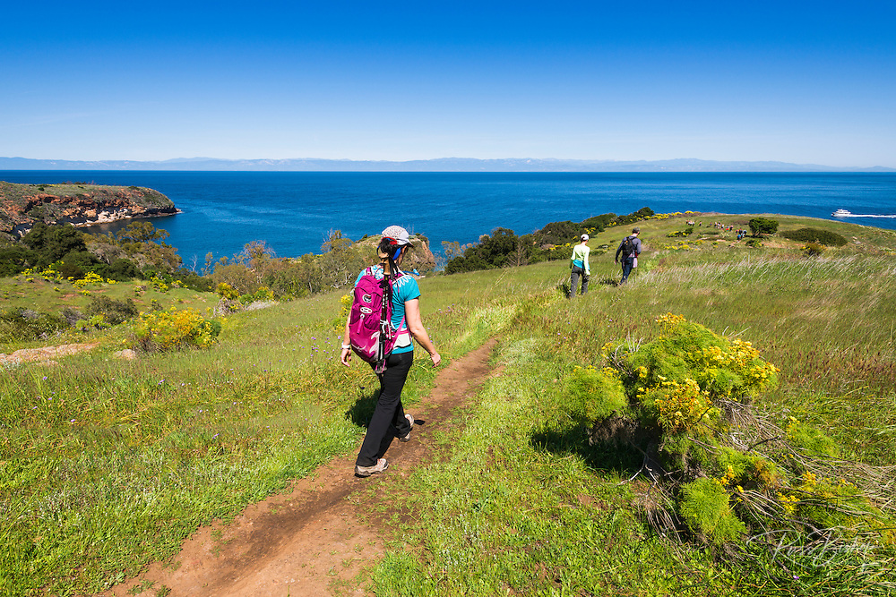 Hikers on the Pelican Bay trail, Santa Cruz Island, Channel Islands National Park, California USA