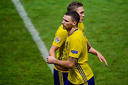 November 20, 2018 - Stockholm, SWEDEN - 181120 Marcus Berg and Ludwig Augustinsson of Sweden celebrates after the Nations League football match between Sweden and Russia on November 20, 2018 in Stockholm  (Credit Image: © Simon HastegRd/Bildbyran via ZUMA Press)