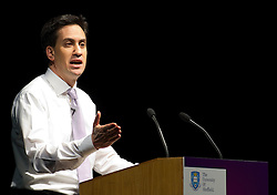 "© licensed to London News Pictures. Sheffield, UK  09/02/2012. Ed Miliband delivers a speech to students and visitors on the ""Sustainable Recovery"" at Sheffield University. Photo credit should read Joel Goodman/LNP"